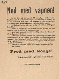 Flygbladet Ned med vapnen. Foto Arbetarrörelsens arkiv och bibliotek